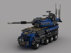 o6 robin tank (V3.2) (demitriusgaouette9991) Tags: lego military army powerful ldd armored turret deadly tank railgun transport future vehicle whitebackground