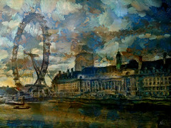 London Eye at sunset. Oil. Paper (Nellie Vin) Tags: londoneye color sunset architecture nellievin river thames dark light clouds atmosphere