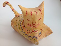 Adorable handmade cat made in paper mache. (Old Paper Perfume) Tags: cat kitty handmade artisan homedecor ecofriendly papermache figurine yellow catlover todecor gift christmasgift etsy etsyseller etsyshop madeinuruguay minocauy ornament adornment cutcate harmony peace yoga sweet gato