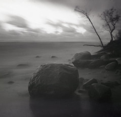 Baltic seacoast (Tomas Ruginis) Tags: pinhole landscape seacost baltic seascape stones autumn lithuania tmax kodak 66 epson600 nature medium square lietuva evening sunset