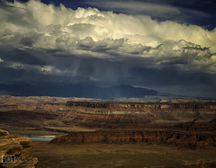 Contemplate the beauty (Dave Arnold Photo) Tags: ut utah moab deadhorsepoint statepark canyonlands nationalpark shafer basin canyon mountains coloradoriver national recreation image pic us usa picture photo photograph photography photographer davearnold davearnoldphotocom beautiful lasalmountains fantastic travel scenic cloud sunset rockymountains spread wet cloudy desert canon 5d mkiii 24105mm huge big mountain rock perfect sanjuancounty landscape nature summer rural outdoor weather sky mesa butte arches grandview point islandinthesky