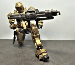 Taking Aim. (ManOfYorkshire) Tags: playarts model figure 6 poseable halo halo4 spartan gold mjolnir armour coating suit fighter aim aiming gun blaster unsc john117 chiefpettyofficer