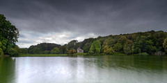Approaching Storm Over Stourhead (James Etchells) Tags: stourhead garden gardens nt national trust wiltshire south west england uk britain pantheon temple apollo turf bridge grotto gothic cottage landscape landscapes trees tree forest wood woods outdoor outdoors water lake reflection reflections symmetry sky clouds explore exploration grass colour color autumn photography architecture historic landmark