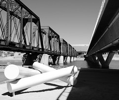 Bridges (Ed-in-AZ) Tags: black white park street bridges water x100f