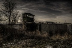 Watchtower (Jan Fenkhuber Photography) Tags: urbex urban dark hdr photography abandoned decay exploration building outdoors light sun romania brașov metal industrial sky cloud urbanexploration urbandecay urbandoned watchtower guard factory fence