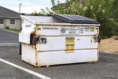 Waste Management (Thrash 'N' Trash Prodcutions) Tags: garbage trash refuse container dumpster bin can metal old classic wm wastemanagement wmx wmxtechnologies recycleamerica recycle recycling cardboardonly white sanitation waste removal collection wmiservices