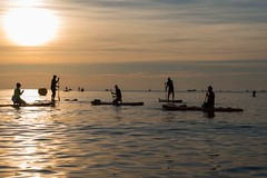 the calm before the challenge (lucafabbricesena) Tags: calm challenge adriatic sea sunrise sun water placidity paddle kayak like silhouette ironman cervia people flat emiliaromagna italy nikon d800 tranquility quiet peace rest sunny shapes dawn morning