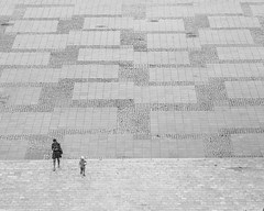 a short story about almost empty place (ignacy50.pl) Tags: blackandwhite monochrome people child woman walking space reportage streetphotography birdseyeview warsaw poland sony