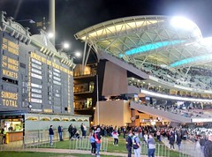 Oval Old and New (mikecogh) Tags: adelaideoval night afl football scoreboard oldandnew grandstand tiers levels bright