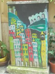 1193 (en-ri) Tags: case houses homes buildings palazzi rosso nero giallo verde castello castle la spezia wall muro graffiti writing
