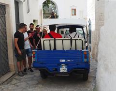 B side (Ola55) Tags: ola55 italy italians blue red blu rosso ostuni taxi lacittàbianca vicolo alley people gente