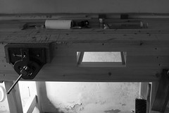 Workbench Apron Drawer : Hole Cut and Frame Attached (btyreman) Tags: woodwork workbench customisation apron drawer drawerframe drawermaking work bench wood pine redwoodpine mono black white grey blackandwhite texture workshop garage storage bearer frame runner runners detail hole cut square knifewall flat straight stock meranti weight mass chunky vice vise eclipse modification woodworking hand tools handtools artisan craftsman craft carlzeiss planart1450 ze 50mm canon eos 5d 5dmk1 5dclassic daylightlamp contrast primelens workbenchdrawer