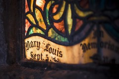 Mary Louis In Memoriam (Thomas James Caldwell) Tags: mary louis stained glass window pane neglected abandoned light september decay color church lit focus dof shallow