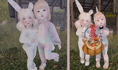 Candy Cuties (Emery/Teagan Parker) Tags: mapetit saycheese pumpinhill unicorn bunny pose costume bebebody fitted ardenpoint prtty ayashi halloween fall cute adorable candy bellybean sl secondlife sister