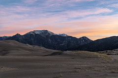 Great Sand Dunes National Park and Preserve (Tom Kilroy) Tags: greatsanddunesnationalparkandpreserve mosca alamosa mountain nature landscape scenics mountainpeak snow outdoors mountainrange sky travel beautyinnature desert hill sunset valley rockobject cloudsky sand colorado
