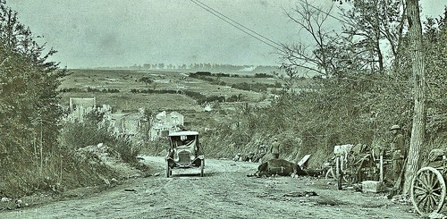 American ambulance passing dead horse on the road to Nantillois, Meuse France Oct 5, 1918 NARA111-SC-26114-ac