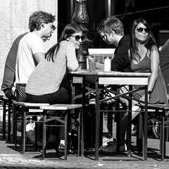 sunny bench life (every pixel counts) Tags: 2018 düsseldorf café city bench people street europa everypixelcounts blackandwhite 11 sunglasses bazzar bw germany nrw girl woman blackwhite eu autumn day square waiting restaurant