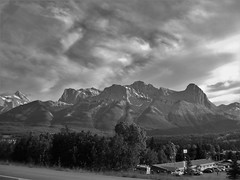 THRU THE PASSENGER SEAT WINDOW (Rob Patzke) Tags: mountain road snow clouds bw monochrome sony dcss750 car ice sign motel landscape shadows travel nwn nature