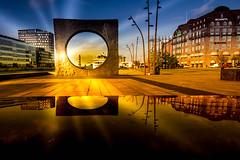 Public art in sunset (explore 2018-10-31) (Maria Eklind) Tags: offentligkonst utblickinsikt color malmö posthusplatsen reflection spegling city outdoor paulsvensson pålsvensson publicart sweden skånelän sverige se