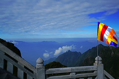 Buddhist flag on the railing, Fansipan mountain, Vietnam (Andrey Sulitskiy) Tags: fansipan sapa vietnam