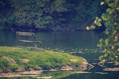 Evening at Springbrook (Justin Loyd Photography) Tags: ngc peace photo image flickr photography canon bench still iowa springbrook landscape green september evening park lake beautiful tranquility peaceful nature