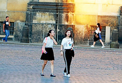 Girl's Night (kirstiecat) Tags: dresden girls friends women light warmth colour color germany europe street canon magical magnificent moment cinematic dreamy yellow