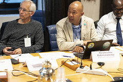 L-R: Alexandre Czajkowski, Oiseaux Migrateurs du Paléarctique Occidental, (OMPO), Rasamoelina Rakotomamonjy, Ramsar Convention (FAO Forestry) Tags: ressources unfao forestry faooftheun headquarters hq rome water birds foodsecurity people