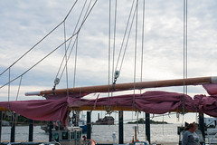 Remnants of a blown out mainsail (desert11sailor) Tags: sylvinawbeal schooner sailboat harbor redsail haroldburnham gloucester