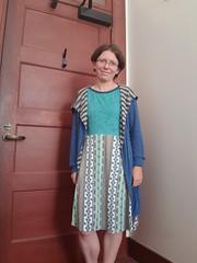 Onfim dress and sweater (quinn.anya) Tags: quinn sewing dress onfim birchbarkletters sweater spoonflower