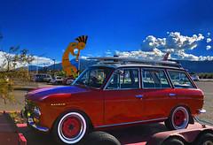 World's Largest Kokopelli (oybay©) Tags: datsun nissan stationwagon rare unusual red redcar kokopelli arizona az campverde camp verde sky turista tourist car automobile color colors bluebird sss datsunbluebird datsunsss