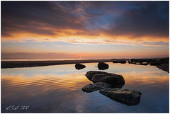 "First Light (""A.S.A."") Tags: crimdon crimdonbeach hartlepool cleveland teeside northeast northeastcoast northsea britain wideangle coast beach lowtide lowlight rocks reflections cloud sunrise sun sonya7rmkii zeissloxia2128 leefilters 09hardgrad asa2018"