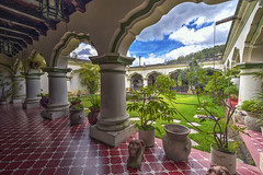 Patio (Fil.ippo) Tags: guatemala antigua patio colonial spanish house architecture column square hdr filippo filippobianchi d610 nikon travel green tree plant sky clouds