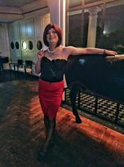 Corsetted (justplainrachel) Tags: justplainrachel rachel cd tv crossdresser burlesque corset costume skirt red pencil tights fishnets oxfordstreet sydney lgbt performance dance transvestite