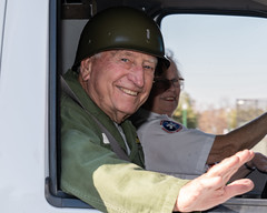 Jack Ford riding with Peg Geringer (American Red Cross of Silicon Valley) Tags: americanredcross siliconvalleychapter veteransdayparade sanjose markbutler