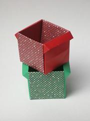 Cubic masu with handles (Mélisande*) Tags: mélisande origami box masu cubic paperkawai