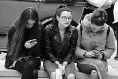 Phone Free Moment for One (Bury Gardener) Tags: bw burystedmunds blackandwhite britain england eastanglia suffolk streetphotography street streetcandids snaps strangers candid candids people peoplewatching folks 2018 nikond7200 nikon uk arc thearc