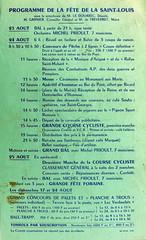 Affichette pour la fête de la Saint-Louis de 1969