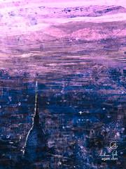 Pink Turin Aerial View (http://www.agatti.com) Tags: italy italian italia piemonte piedmont turin torino panorama moleantonelliana architecture building monument construction landmark landscape scape view panorma scene scenery vista veduta air aereal wonderland culture tourism travel visitors city urban outdoor sky cloud sunset light twilight digital painting texture layers impressionism impression surrealism surreal realism splatter brush stroke paint colorful blu blue pink fuxia fucsia rosa violet