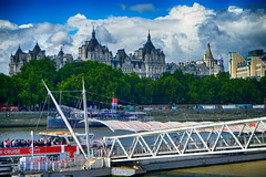 London along the Thames River (` Toshio ') Tags: toshio london england thamesriver thames river pier boat city unitedkingdom greatbritain clouds europe european fujixt2 xt2 cruise rivercruise trees embankment riverbank ship architecture