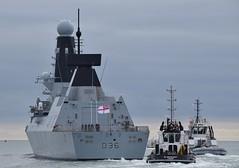HMS Defender D36 (4) @ The Solent 08-10-18 (AJBC_1) Tags: england uk unitedkingdom ship boat vessel warship military royalnavy navy nato navalvessel rn hmsdefender d36 destroyer airdefencedestroyer britishmilitary ukmilitary dlrblog ©ajc britisharmedforces type45destroyer ajbc1 nikond5300 thesolent hampshire militaryvessel southsea tug tugboat sdindependent damen damenshipyardsgroup sercoltd harbourtug sdtempest sercomarineservices