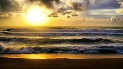 Five waves sunrise ♪♫ (Fnikos) Tags: sea water mar mare wave ola five cinco multiple sun sunrise ocean landscape seascape coast beach bay shore seashore sand light backlight contraluz sky cloud wind skyline outdoor