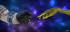 Encounter (maspick) Tags: space black white blue purple green stars nebula arms reach alien astronaut