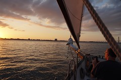 Approaching Fort Sumter with a furled jib. (londonexpat) Tags: sel18135 sonya6500 goldenhour sailboat sail furled jib fortsumter