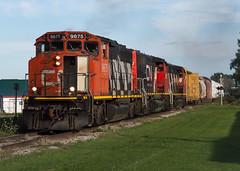 GP40-2W's Anyone? (Joseph Bishop) Tags: cn cnhagersvillesubdivision cainsville blossomave 9675 emd gp402w trains train track tracks railfan railroad railway rail rails zebra