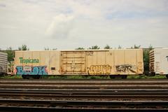Belok, Achoo, Estr (NJphotograffer) Tags: graffiti graff trackside track railroad rail art freight train bench benching reefer refrigerated car tropicana belok achoo estr