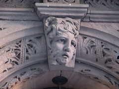 Wind Blown Gargoyle Face Above Doorway 4806 (Brechtbug) Tags: wind blown gargoyle face above doorway building facade 25th street between 7th 8th avenues brownstone entrance nyc 11122018 new york city midtown manhattan 2018 gargoyles portraits monster portrait monsters creature faces spooky art architecture sculpture keystone mask brownstones brown stone
