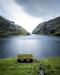 Cabin of my Dreams (Fabian Fortmann) Tags: faroe islands färöer inseln küste coast cabin landscape drone sea