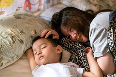 Portrait of mother watching her son sleeping at home, Shanghai, China, Sep 2, 2018 (Yinjia Pan) Tags: 23years 3039years chinaeastasia familywithonechild loveemotion millennialgeneration onebabyboyonly onewomanonly portrait shanghai adult babyclothing beautifulpeople blackeye blackhair bonding carefree cheerful child childhood chineseethnicity community curiosity cute domesticlife enjoyment family headshot indoors innocence joy lifestyles mother night parent partof photography playful relaxation sideview simpleliving singlemother sleeping smiling togetherness touching watching