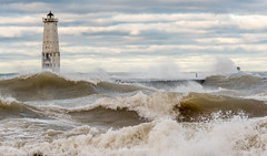 Come October (Aaron Springer) Tags: michigan northernmichigan lakemichigan thegreatlakes frankfort frankfortnorthbreakwater gale weather storm waves breakingwaves lighthouse pier october fall autumn outdoor nature seascape