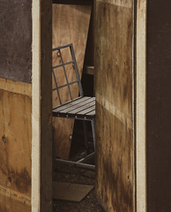 Not Sitting Pretty (Steve Taylor (Photography)) Tags: shed hut chair door brown wood plywood newzealand nz southisland canterbury christchurch